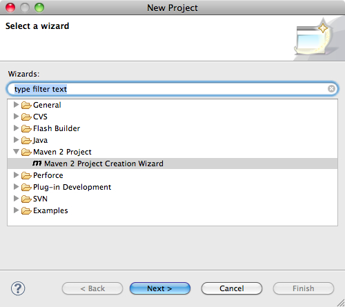 Eclipse dialog where you select the project type