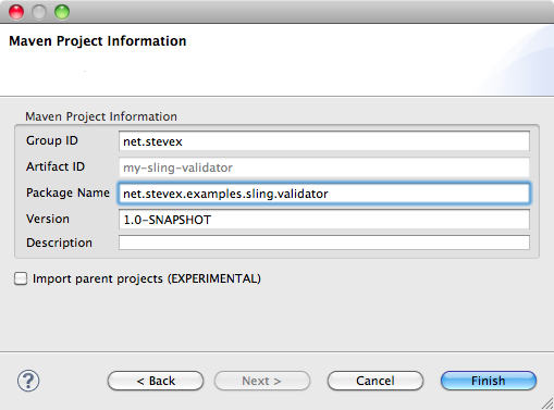 Eclipse dialog showing some configuration details