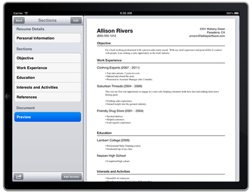 stevex compiled  u00bb blog archive  u00bb resume maker for ipad